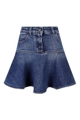 Джинсовая юбка-колокольчик средней длины Fendi Kids 690160339