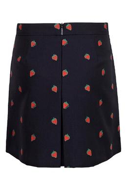 Черная юбка в складку с орнаментом из ягод клубники Gucci Kids 1256160338