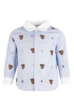 Голубая рубашка для маленького мальчика с орнаментом из звериных мордочек Gucci Kids 1256160334