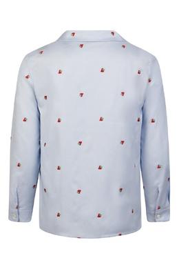 Голубая рубашка с орнаментом из клубники Gucci Kids 1256160337
