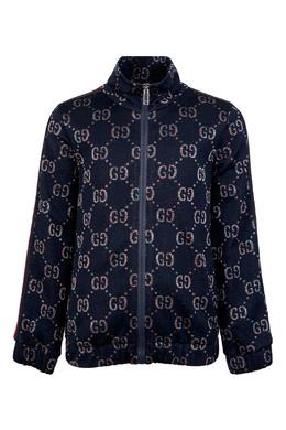 Темно-синяя куртка с орнаментом Gucci Kids 1256160309
