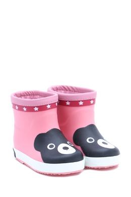 Укороченные резиновые сапоги розового цвета Miki House 3018160260