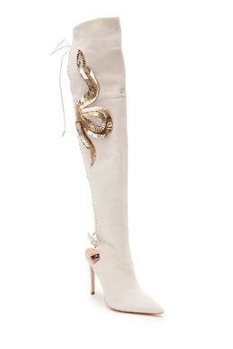 Кожаные ботфорты с прорезями Elisabetta Franchi 1732142618