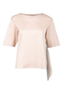 Хлопковая блуза с фатиновой вставкой Fabiana Filippi 2658160950