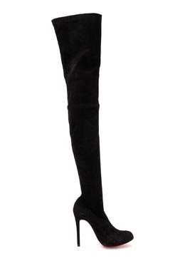 Черные ботфорты из велюра Christian Louboutin 106161021
