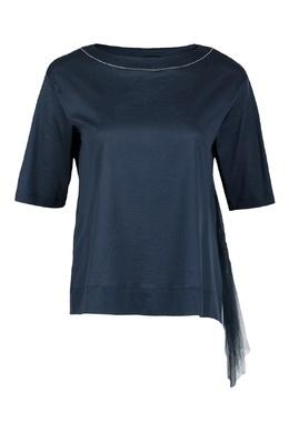 Темно-синяя блуза с короткими рукавами Fabiana Filippi 2658160954