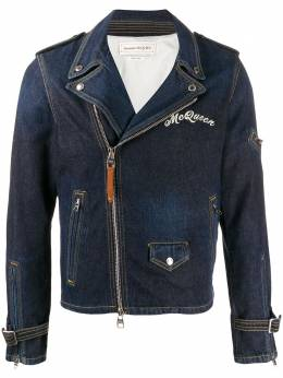 Alexander McQueen - джинсовая куртка с косой молнией 633QNY95950995950000