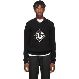 Dolce&Gabbana Black Wool V-Neck Sweater 192003M20600103GB