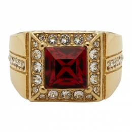 Dolce&Gabbana Gold and Red Square Ring 192003M14700103GB