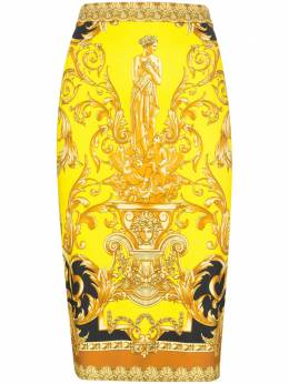 Versace - baroque print fitted midi skirt 663A0398599596696800