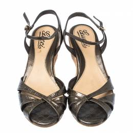 Gucci Metallic Grey Micro Guccissima Patent Leather Penelope Espadrille Wedges Size 38.5 235143