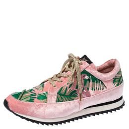Charlotte Olympia Pink/Green Flamingo Velvet Work It Sneakers Size 40 236148