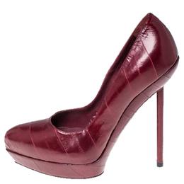 Saint Laurent Paris Red Leather Divine Platform Pumps Size 38.5 236036