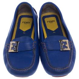 Fendi Blue Leather Logo Slip On Loafers Size 38.5 238272