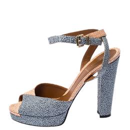 Fendi Blue/Pink Textured Leather Ankle Strap Platform Sandals Size 39.5 236027