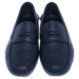 Prada Blue Leather Penny Slip On Loafers Size 42 238080