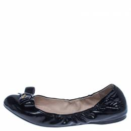 Prada Black Patent Leather Bow Scrunch Ballet Flats Size 39 238269