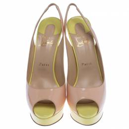 Christian Louboutin Colorblock Patent Leather Lady Peep Toe Sling Platform Sandals Size 40 238009