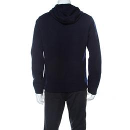 Fendi Navy Blue Wool Shearling Velcro Logo Hoodie L 238457