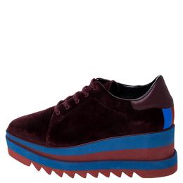 Stella McCartney Burgundy/Blue Velvet Elyse Platform Derby Size 40.5 237403