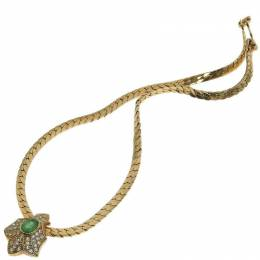 Dior Green/Gold Pendant Rhinestone Necklace 238195