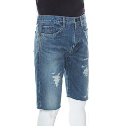 Saint Laurent Paris Distressed Denim Capri Shorts M 238330