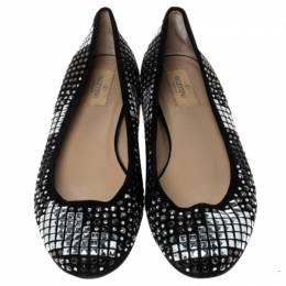 Valentino Black Suede With Studs And Crystals Ballet Flats Size 38 237939
