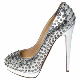 Christian Louboutin Metallic Silver Leather Alti Spike Platform Pumps Size 38.5 235989
