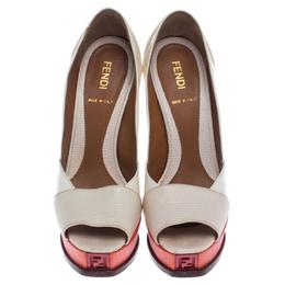 Fendi White Patent Leather And Lizard Embossed Leather Fendista Peep Toe Platform Pumps Size 36 238032