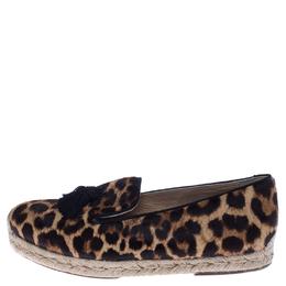 Christian Louboutin Brown/Black Leopard Print Calfhair Tassel Espadrilles Size 39 238155
