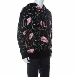Gucci Black Cotton Floral Embroidered Hoodie L 238484