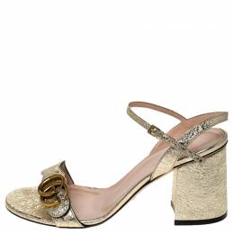 Gucci Metallic Gold Leather GG Ankle Strap Block Heel Sandals Size 38 236242