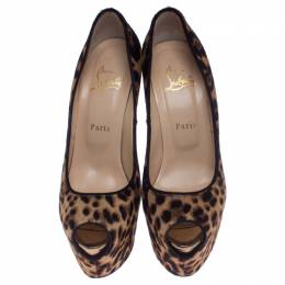 Christian Louboutin Brown Leopard Print Calfhair Highness Peep Toe Platform Pumps Size 39 238007