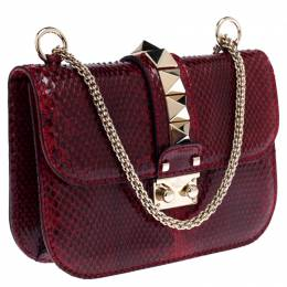 Valentino Red Rockstud Python Small Glam Lock Flap Bag 235302