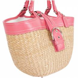 Coach Pink/Beige Woven Straw Rare Basket Tote 238356