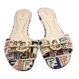 Fendi Multicolor Canvas Flat Slide Sandals Size 41 237963