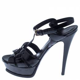 Saint Laurent Paris Black Patent Leather Tribute Sandals Size 37.5 238255