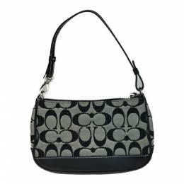 Coach Black/Gray Signature Canvas And Leather Shoulder Bag 238400
