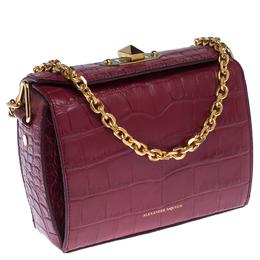 Alexander McQueen Red Croc Embossed Leather Box Shoulder Bag 234392