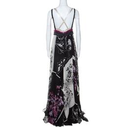 Etro Lavender and Black Floral Printed Silk Draped Maxi Dress M 234555