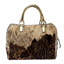 Dolce&Gabbana Brown/Gold Printed Velvet and Patent Leather Satchel 234554