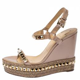 Christian Louboutin Beige Studded Patent Leather Cataclou Espadrille Wedge Sandals Size 40 234759