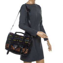 Proenza Schouler Black Fabric and Leather Large PS1 Top Handle Bag 233459