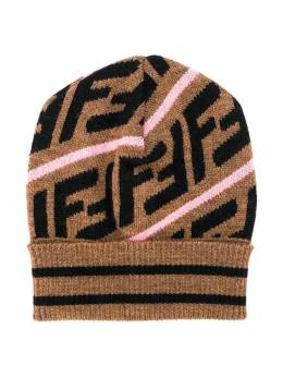 Fendi Kids - Brown & Pink Knitted Baby Hat 696A0M3F93ZW95580553