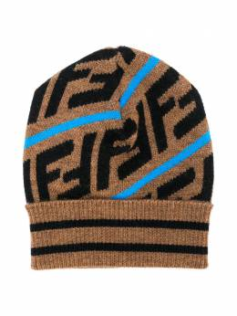 Fendi Kids - Brown & Blue Knitted Baby Hat 696A0M3F93GK95580599