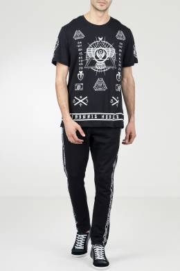 Черная футболка с принтами Frankie Morello 1482161490