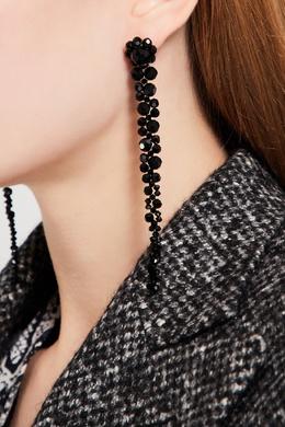 Каскадные серьги из черных бусин Simone Rocha 250161272