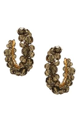 Серьги-кольца с дымчато-серыми бусинами Simone Rocha 250161269
