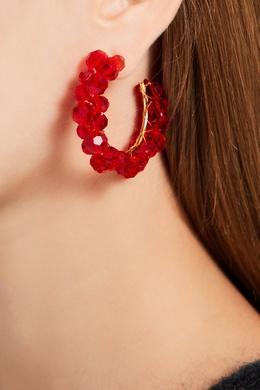 Серьги-кольца с красными бусинами Simone Rocha 250161267
