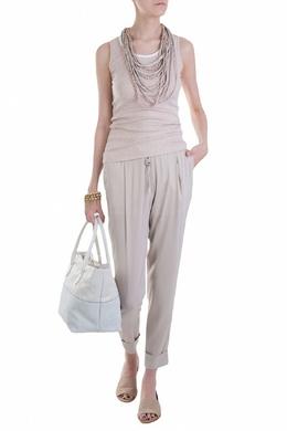 Кремовые брюки с мягкими складками у пояса Fabiana Filippi 2658160658